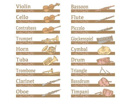 Labels and icons of instruments. Vector illustration.