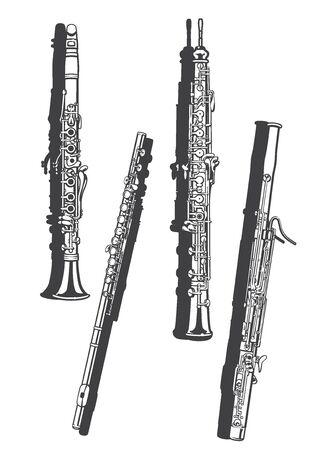 Vetcor illustration of woodwind instruments.