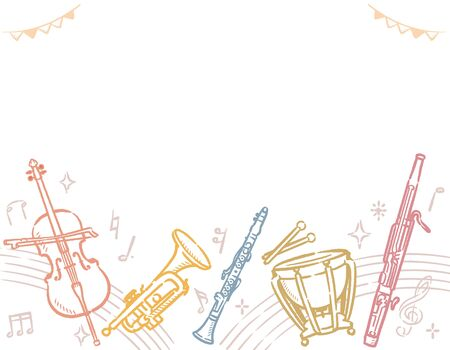 Background with musical instruments. Vector illustration. Vettoriali