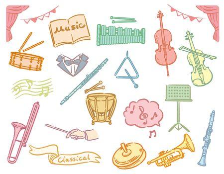 Orchestra instruments set. Vector illustration. Vettoriali