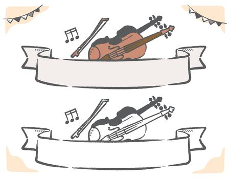 Music themed vector labels with violin.