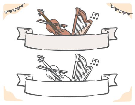 Music themed vector labels with stringed instruments.