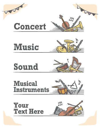 Music themed vector labels with orchestra instruments. Vettoriali