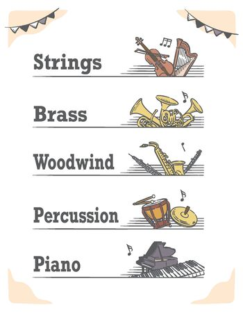 Music themed vector labels with orchestra instruments, including woodwind, strings, brass, piano, percussion.