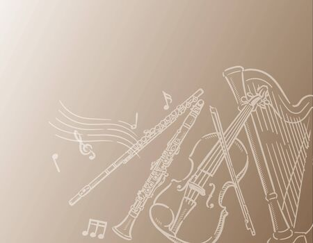 Music themed background with orchestra instruments. Vector illustration.