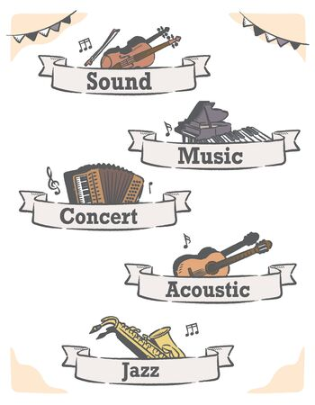 Music themed vector labels with musical instruments. Stock Illustratie