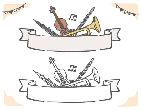 Music themed vector labels with orchestra instruments. Stock Illustratie