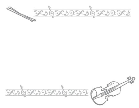 Frame with violin and decorative border. Vector illustration.