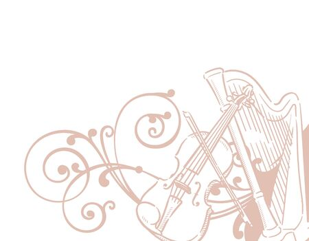 Music themed background with stringed instruments. Vector illustration.
