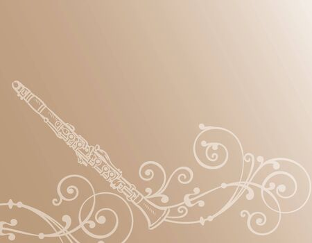 Music themed background with clarinet. Vector illustration.