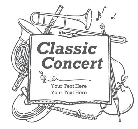 Poster or flyer design with musical instruments. Vector illustration.
