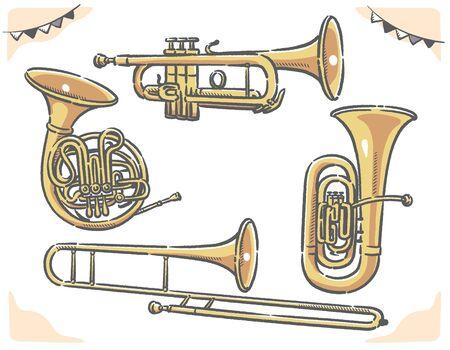 Trumpet, tuba, trombone, horn. Brass set of vector illustration.