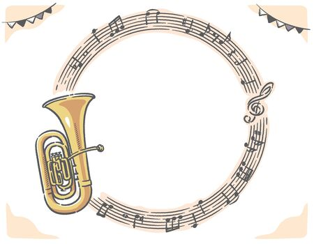 Frame with tuba and abstract music notes. Vector illustration.