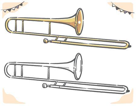 Trombone isolated on white. Vector illustration. Ilustración de vector