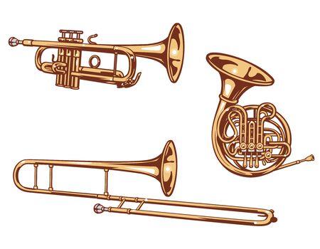 Trumpet, horn and trombone. Brass set of vector illustration.