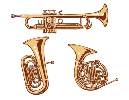 Trumpet, Horn and Tuba. Brass set of vector illustration.