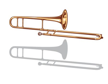 A trombone and it's silhouette set. Vector illustration.