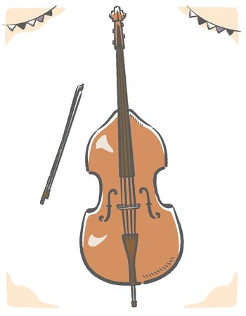 Contrabass isolated on white. Vector illustration.