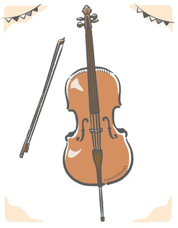 Cello isolated on white. Vector illustration.