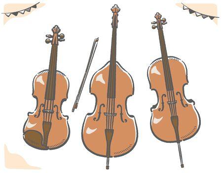 Violin, cello, contrabass, stringed instruments set. Vector illustration.