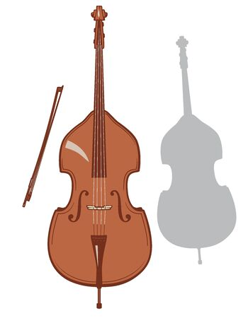 Contrabass and it's silhouette set. Vector illustration.
