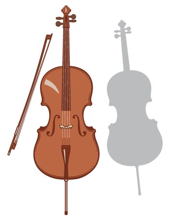 Cello and it's silhouette set. Vector illustration.
