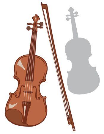 Violin and it's silhouette set. Vector illustration. Stock Illustratie