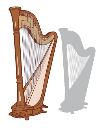 Classical pedal harp and it's silhouette set. Vector illustration.