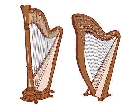 Classical pedal and lever harp. Set of 2 types of harp. Vector illustration.