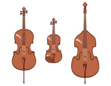 Violin, cello and contrabass. Stringed instruments set. Vector illustration.