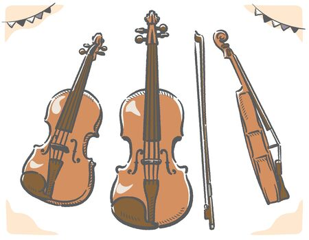 Violin from various directions. Vector illustration.