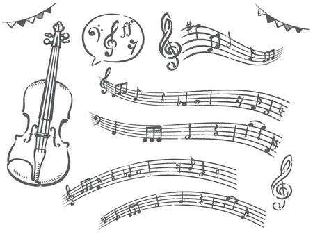 Violin and set of abstract musical notes. Vector illustration. Stock Illustratie