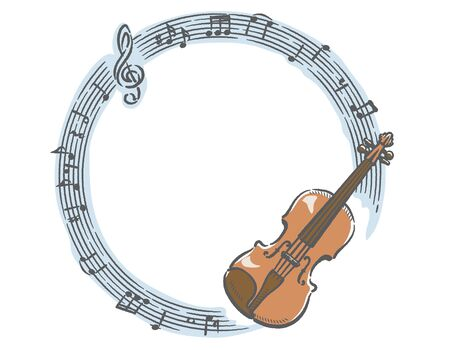 Frame with violin and abstruct music notes. Vector illustration.