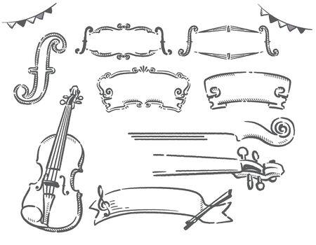 Violin themed labels. Vector illustration.