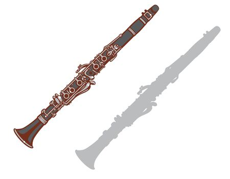 Clarinet and it's silhouette set. Vector illustration.