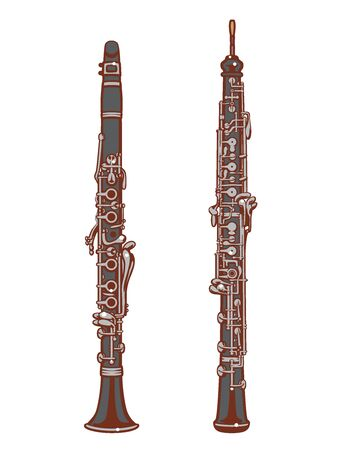 Oboe and Clarinet. Woodwind set of vector illustration.