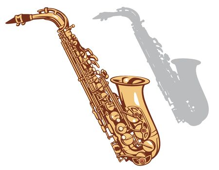 Saxophone and it's silhouette. Vector illustration.