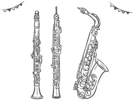 Clarinet, oboe, saxophone. Woodwind instruments. Vector illustration.