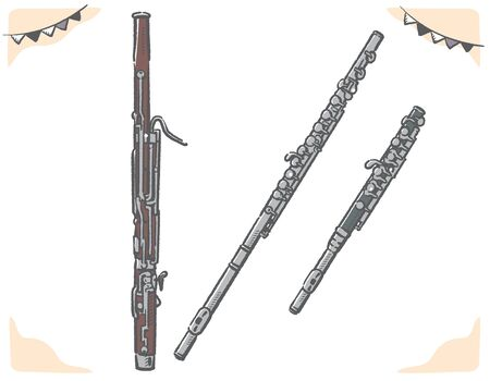 Flute, piccolo, bassoon. Woodwind instruments. Vector illustration.