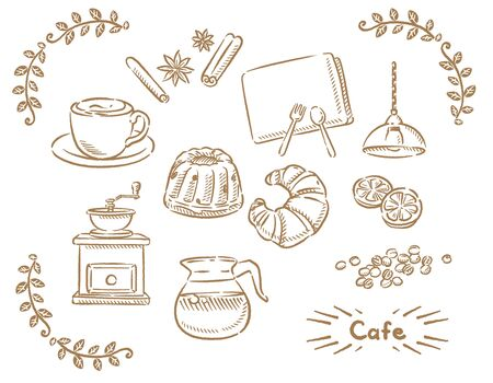 Coffee and bread. Isolated on white. Vector illustration.