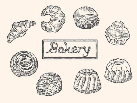 Many varieties of sweet bread. Vector illustration. Ilustrace