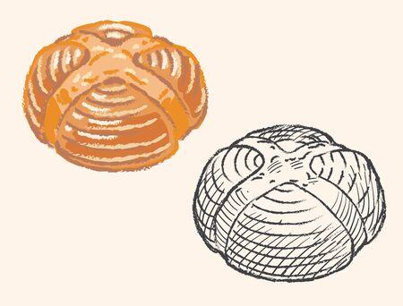 Pain de campagne, French round sourdough bread. Vector illustration.