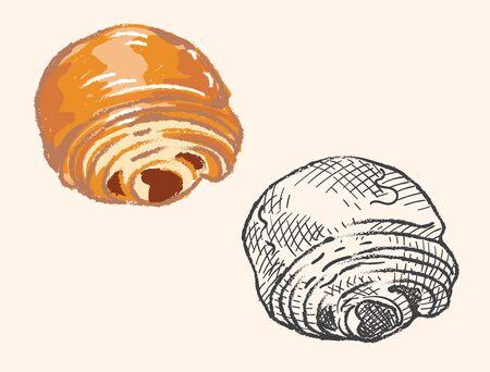 Pain au chocolat, chocolate croissant. Vector illustration.