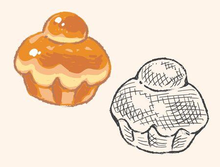 Brioche, Sweet bun or cake. Vector illustration.