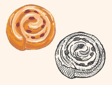 French raisin bread, Pain au raisin. Vector illustration.