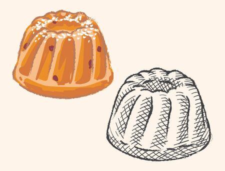 Sweet bundt cake. Vector illustration.