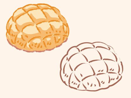 "Japanese sweet bun, ""Melon Pan"". Vector illustration."