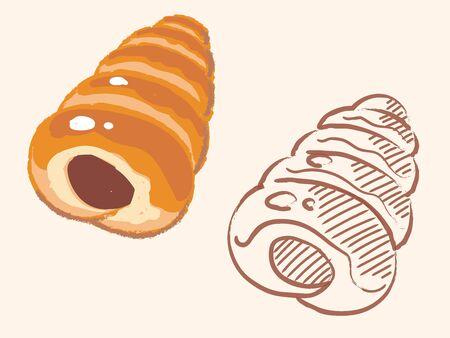 "Japanese baked bread, ""Choco Korone"". Vector illustration."