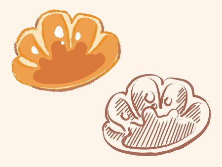 "Japanese baked roll, ""Cream pan"".  Vector illustration."
