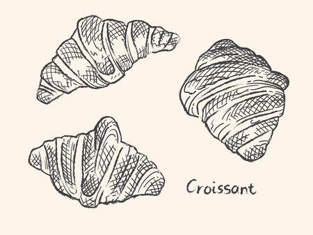 Vector illustration of Croissant. Black line sketch. Ilustrace